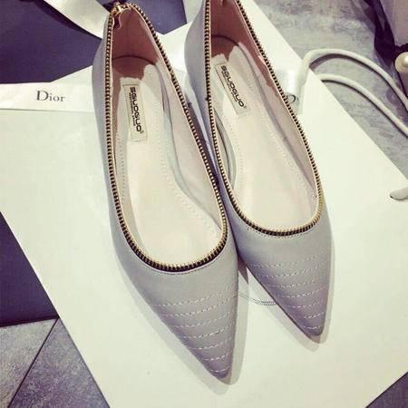 Mssefn2015春季新款后拉链装饰单鞋 简约百搭平底鞋 XGG1211-18