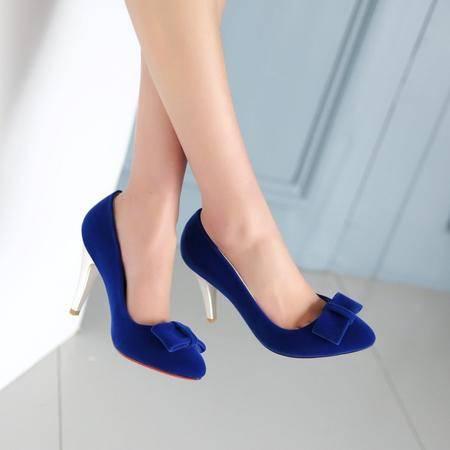Mssefn2015春季新款甜美蝴蝶结磨砂尖头单鞋1005
