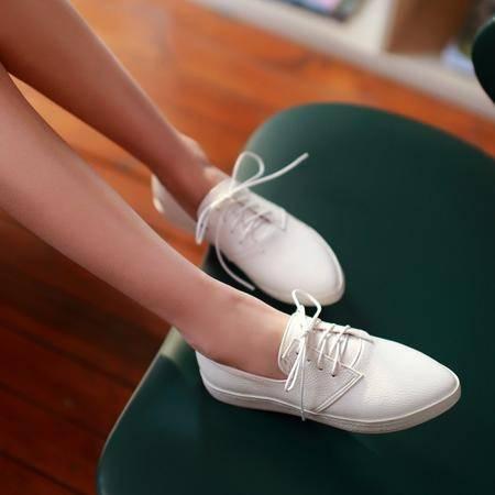 mssefn2015春季新款LS尖头系带单鞋 百搭休闲女鞋1057