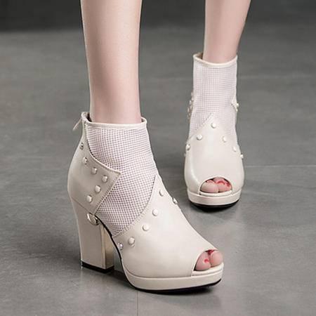 Mssefn2015新款欧美范 专柜正品 英伦 柳钉 粗高跟 网纱女鞋 LRP-9811