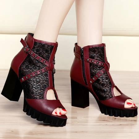 Mssefn2015春季新款欧美时尚鱼嘴蕾丝女鞋 高跟鞋女鞋子DS12-8173
