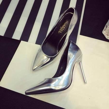 mssefn2015欧美范儿高跟单鞋 金属色尖头高跟XGG111-7P110