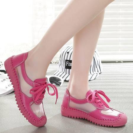mr.benyou2015新款韩版潮流 学院风 真皮 手缝 平跟女生网鞋WZ3-A03