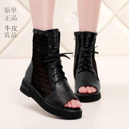 Mssefn2015新款欧美明星范 正品真品牛皮 网纱女士鞋WZ9-888