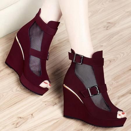 Mssefn2015春季新款正品鱼嘴网纱女鞋高跟女鞋子DS12-8161