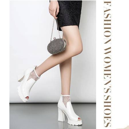 Mssefn2015春季新款欧美明星范粗高跟女鞋 网纱鞋女LRP-167