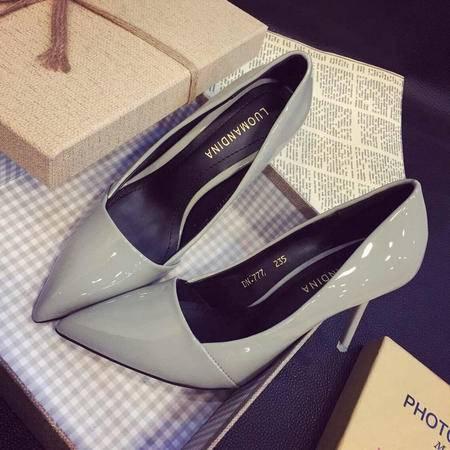 Mssefn2015春季新款OL通勤尖头高跟单鞋 漆皮简约细高跟鞋XGG777