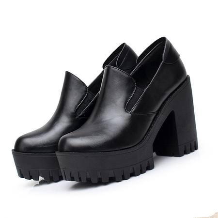 Mssefn2015春季新款 欧美牛皮真皮 女粗跟高跟低帮单鞋WZ30-W5101