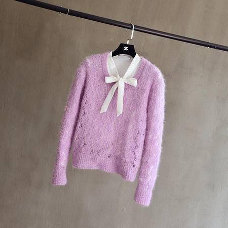 Mssefn2015新款女装马卡龙色镂空钩花圆领针织镂空罩衫空调衫F338