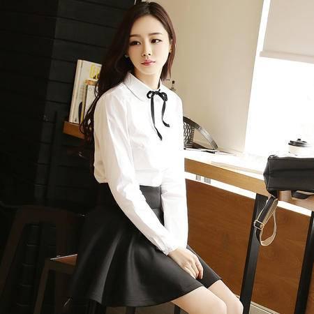 Mssefn2015春秋新品韩国女装摩登潮流复古白色女衬衫修身纯棉衬衣女423