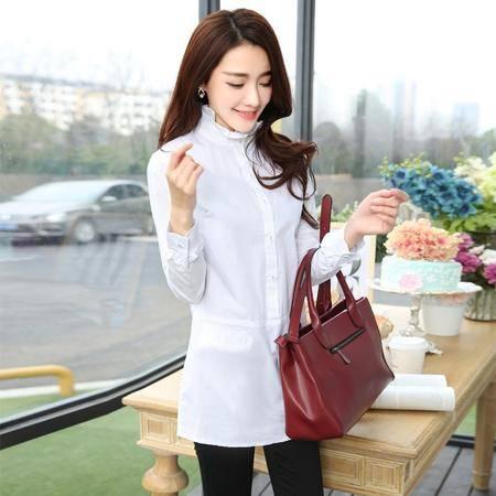 Mssefn2015春季新款韩国时尚女装木耳高领修身白色百搭女衬衫打底衫3113