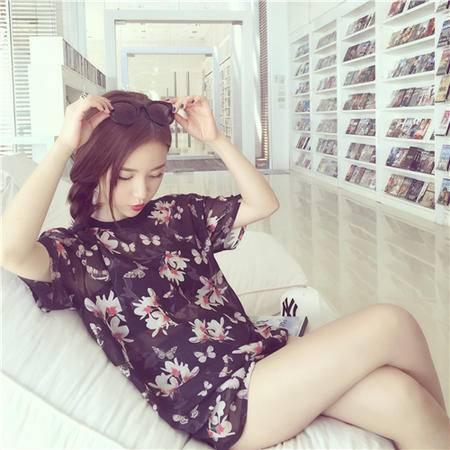 Mssefn2015夏季爆款独特蝴蝶花朵t恤 短袖t恤女8309-T8801