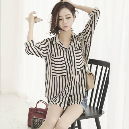 Mssefn2015春款韩国女装新品宽松大码女衬衣条纹休闲个性女衬衫透视装4219