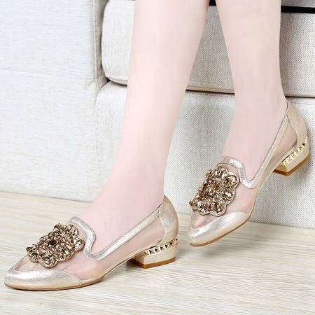 Mssefn2015春季新款 水钻 网纱时尚 平底低帮女鞋子  DS12-1006