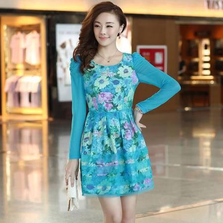 Mssefn2015春季韩国时尚女装网纱修身淑女印花泡泡袖连衣裙打底裙1335