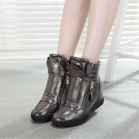 Mssefn2015春季新款 内增高 双拉链 厚底短靴 女高帮休闲鞋WZ17-927
