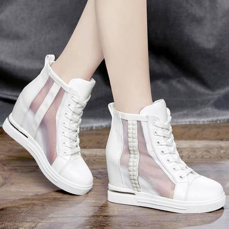 Mssefn2015春夏 新品内增高 网纱 凉鞋 时尚高帮女鞋DS12-1008
