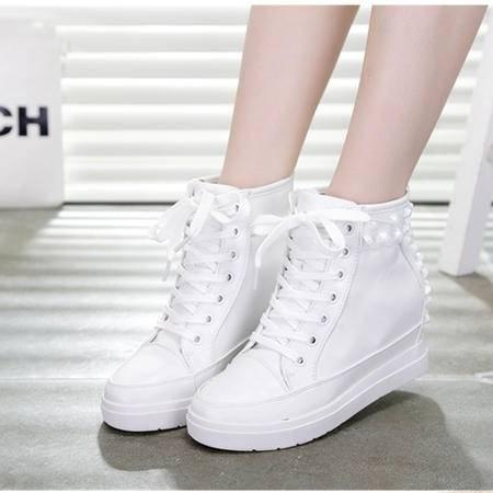 Mssefn2015春 内增高 潮韩学院风 新款  高帮鞋 铆钉女鞋WZ17-F20