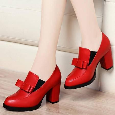 Mssefn2015春季 专柜款 蝴蝶结 高跟鞋 低帮休闲女单鞋子 DS12-8137