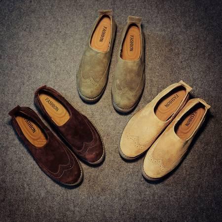 Mssefn2015欧美范 四季款潮男单鞋 男式做旧布洛克雕花低帮休闲皮鞋X65