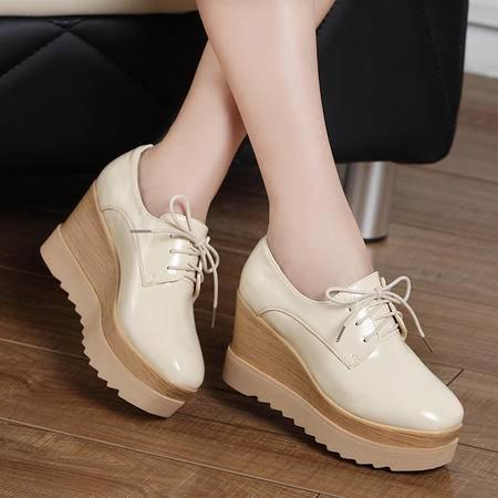Mssefn2015春季新款 英伦 潮韩 时尚厚底坡跟 学院风增高 女单鞋DR-8515