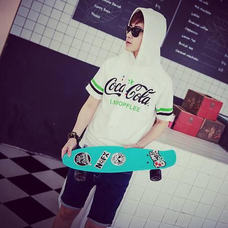 Mssefn2015夏男士印花连帽抽绳个性修身短袖T恤T316