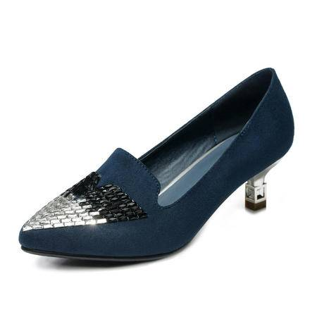 Mssefn2015 春秋 专柜 正品 水钻 尖头细跟低帮 女单鞋DS12-8150