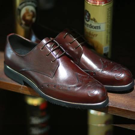 Mssefn2015春季新款精品头层牛皮手工雕花克罗心低帮男士单皮鞋婚鞋9506