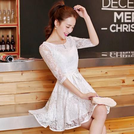 Mssefn2015新款修身中袖连衣裙 收腰白色蕾丝连衣裙 淑女公主裙潮ATXCMZ833