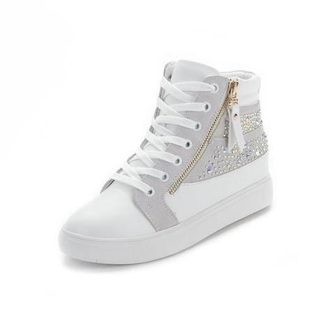 Mssefn2015春季新款 内增高 水钻真皮 双拉链 圆头女鞋 WZ17-F15