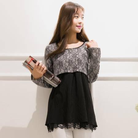 Mssefn春季新款韩版女装灰黑拼接料中高档气质连衣裙女8233-8570