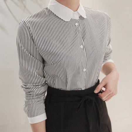 Mssefn2015春季新款条纹衬衫娃娃领8201-c003