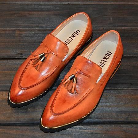 mr.benyou2015春季新品 英伦雕花男鞋时尚韩版系带尖头真皮皮鞋103