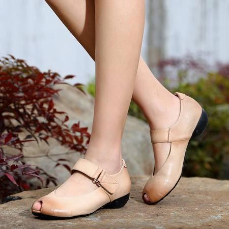 mr.benyou2015春季精品 鱼嘴鞋 魔术贴 女式单鞋WZ18-N1509-10
