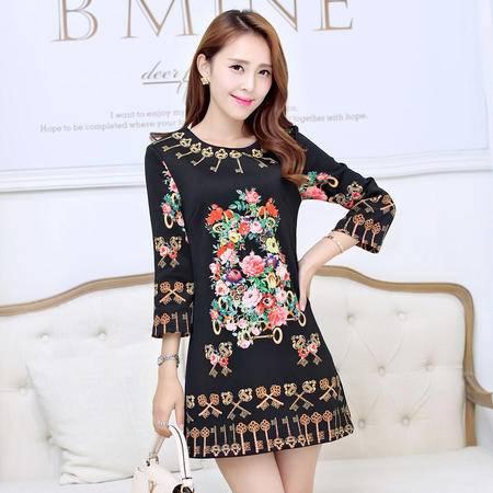 Mssefn2015春季韩国时尚女装复古优雅圆领修身连衣裙短裙打底裙1342