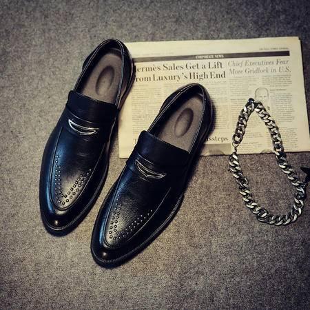 Mssefn2015春 英伦风铆钉潮男鞋 男士巴洛克厚底套脚休闲皮鞋单鞋X55