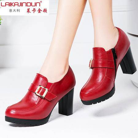 Mssefn2015 春款 意大利 英伦 时尚粗跟 女单鞋DS15-A1633