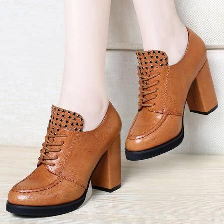 mssefn2015春 专柜新款 英伦 粗跟 高跟鞋时尚铆钉女鞋子DS12-1009
