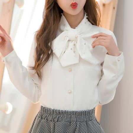 mssefn2015新款女装打底上衣手工钉珠春夏中高档雪纺衫女8233-9477