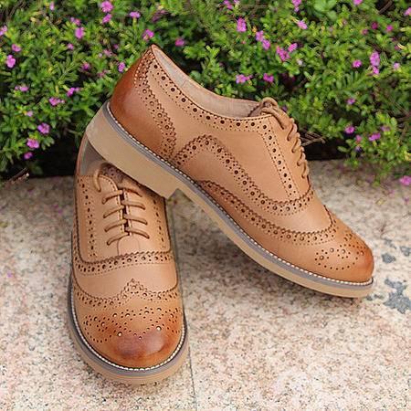 mr.benyou2015欧美英伦风雕花擦色牛皮复古真皮皮鞋 平跟底系带单鞋1588