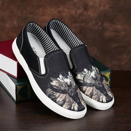 Mssefn2015夏 平底帆布鞋男士一脚蹬懒人鞋 民族风单鞋休闲布鞋男059