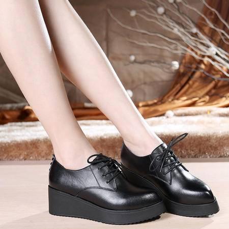 Mssefn2015春款新品欧美真皮牛皮 铆钉坡跟 松糕尖头单鞋 WZ30-5185