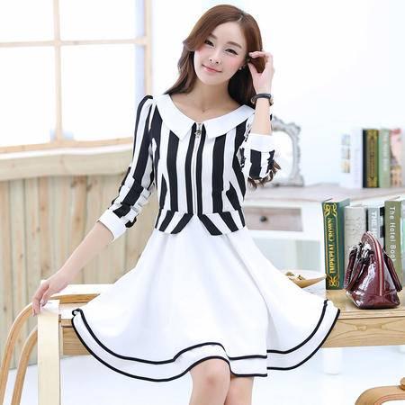Mssefn2015春季韩国时尚女装娃娃领修身大条纹连衣裙双层荷叶摆1348