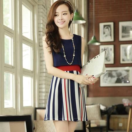 Mssefn2015夏韩国时尚女装修身无袖连衣裙条纹背心打底裙短裙1337