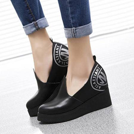 MR.BENYOU2015春款欧美内增高坡跟鞋 单鞋 经典图腾 WZ30-1505