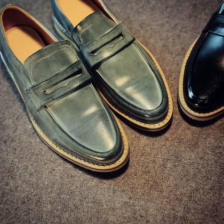 Mssefn2015春 英伦风男式 头层皮鞋 潮男套脚韩版擦色休闲皮鞋潮鞋X67