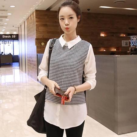 Mssefn2015新款韩国代购修身千鸟格针织雪纺衬衫964