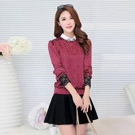 Mssefn2015春装新款韩版娃娃领仿真丝打底衫1512