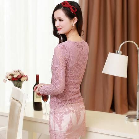 Mssefn2015春季新款韩版长款修身蕾丝衫打底衫B981