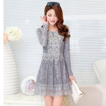 Mssefn2015新款韩版修身蕾丝连衣裙 打底衫1506